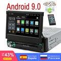 Один 1Din Android 9 0 RAM 2G ROM 16G четырехъядерный универсальный автомобильный мультимедийный радио GPS 7