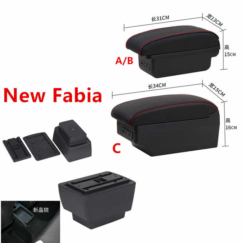 For New Fabia armrest box central Store content Storage skoda Fabia 3 armrest box USB 2015-2017