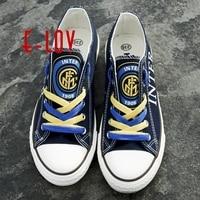 Fans club imprimer toile chaussures logo pour Inter Milan Jersey Style Couverture dure de Cas Blanc Coque pour raffiti casual chaussures hommes garçons