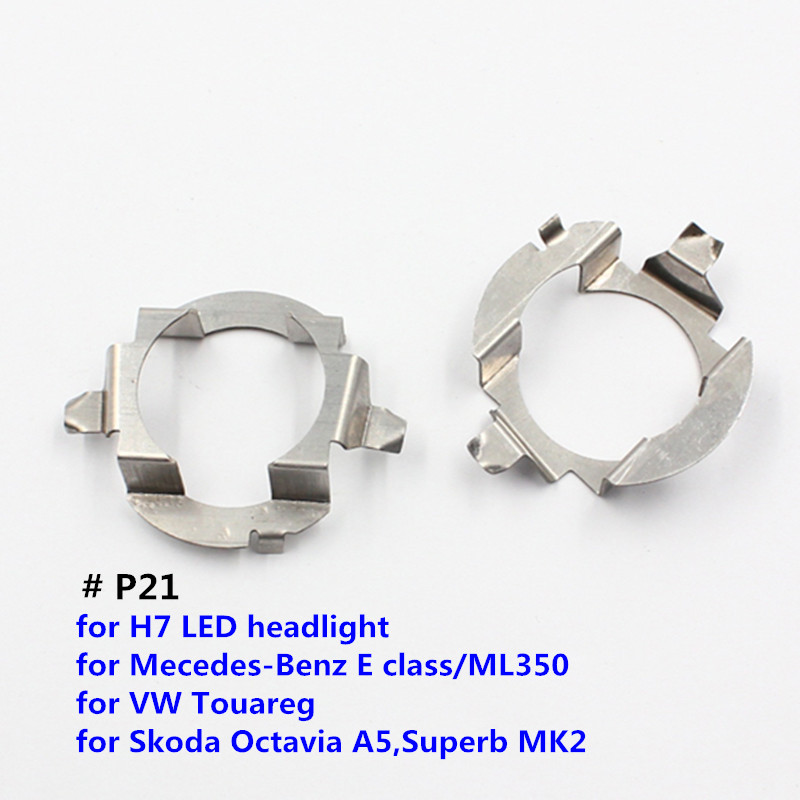 FSYLX H7 Mobil LED bulb holder adapter untuk Mercedes Ben. Z ML350 LED headlight H7 LED Logam clip retainer adapter untuk VW Touareg