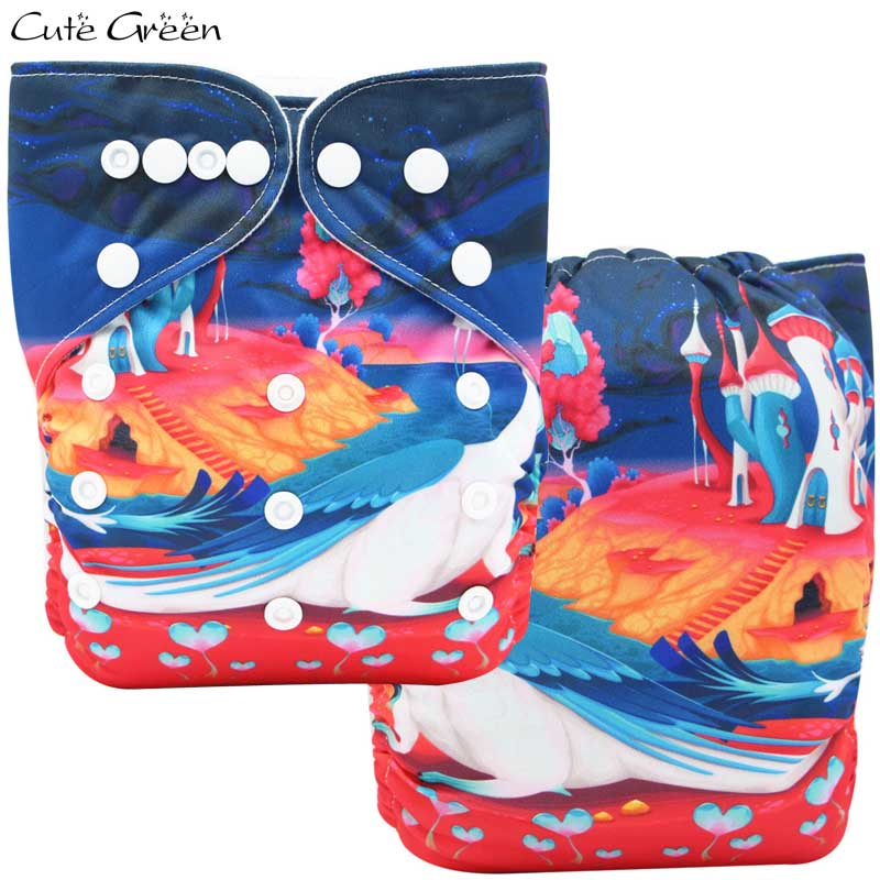 One Size Baby Pocket Cloth Diaper Waterproof PUL Reusable Infant Diapers Nappy Position Digital Print Baby Nappies Washable OS
