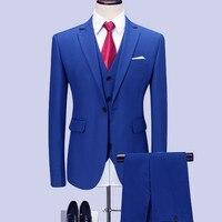 (blazers + pants + vest) classic men's royal blue wedding groom wearing men's fashion business solid color suit m 6xl