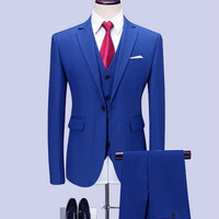 (blazers + pants + vest) classic men's royal blue wedding groom wearing men's fashion business solid color suit m 6xl