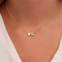 Fashion Tiny Dainty Heart Initial Necklace Personalized Letter Name Jewelry for women accessories girlfriend gift
