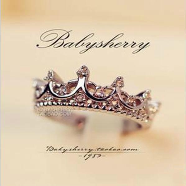 Free Wings Queen's Silver Crown Rings Әйелдер үшін Punk - Сәндік зергерлік бұйымдар - фото 2