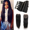 Brazilian Virgin Hair Straight With Closure 4 Bundles With Closure Cheap Brazilian Straight Human Hair Extensions With Closure