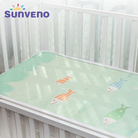 SUNVENO newborn bed sheet baby summer Breathable bed sheet Cool silk baby bedding set with pillow crib bedding set 120x60cm