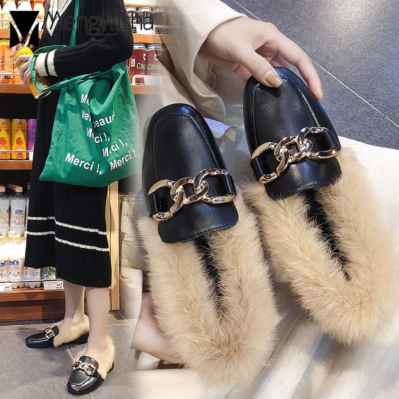 Mujeres Comodidad Mullida Caliente Metal Piel Invierno Mulas Zapatos Cuadrado Mocasines Beige Mujer Peludos Pie Mantener Planos black Hebilla rfrOHqwx