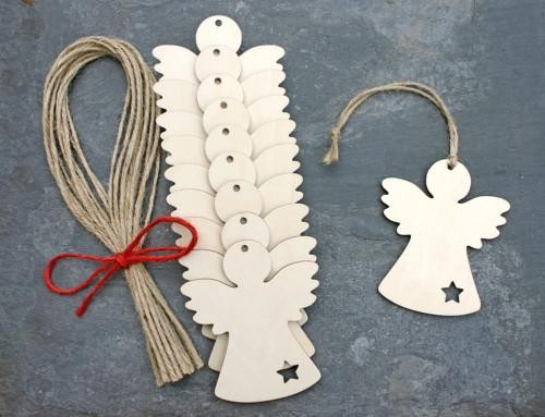 bulk christmas ornaments wood carved angel-in Pendant & Drop ...