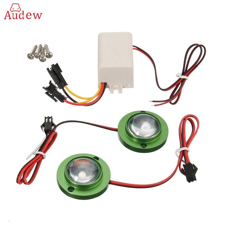 2Pcs Car Motorcycle LED Strobe Flash Warning Light Brake Tail Light Spotlights Fish Eye Lens Lamp Blue/Green/Red/Silver