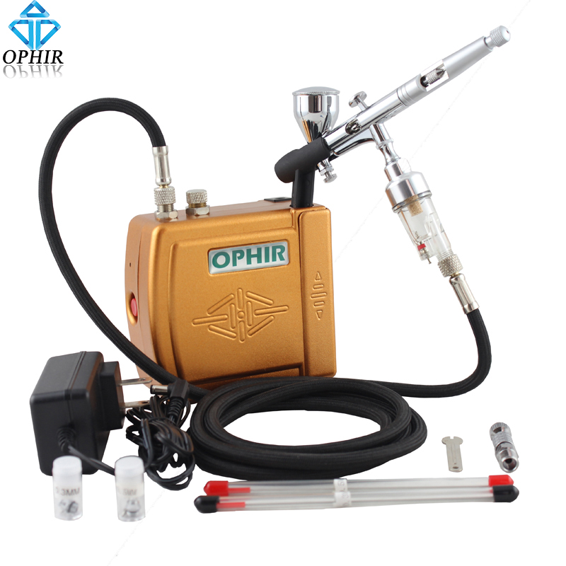 OPHIR 3 Tips Airbrush Compressor Set for Body Paint Nail Art TEMPTU Airbrushing Professional Makeup Systems_ AC003G+070+011 ophir 3 tips dual action airbrush gravity paint air brush with 110v 220v air tank compressor for nail art body paint ac090 070