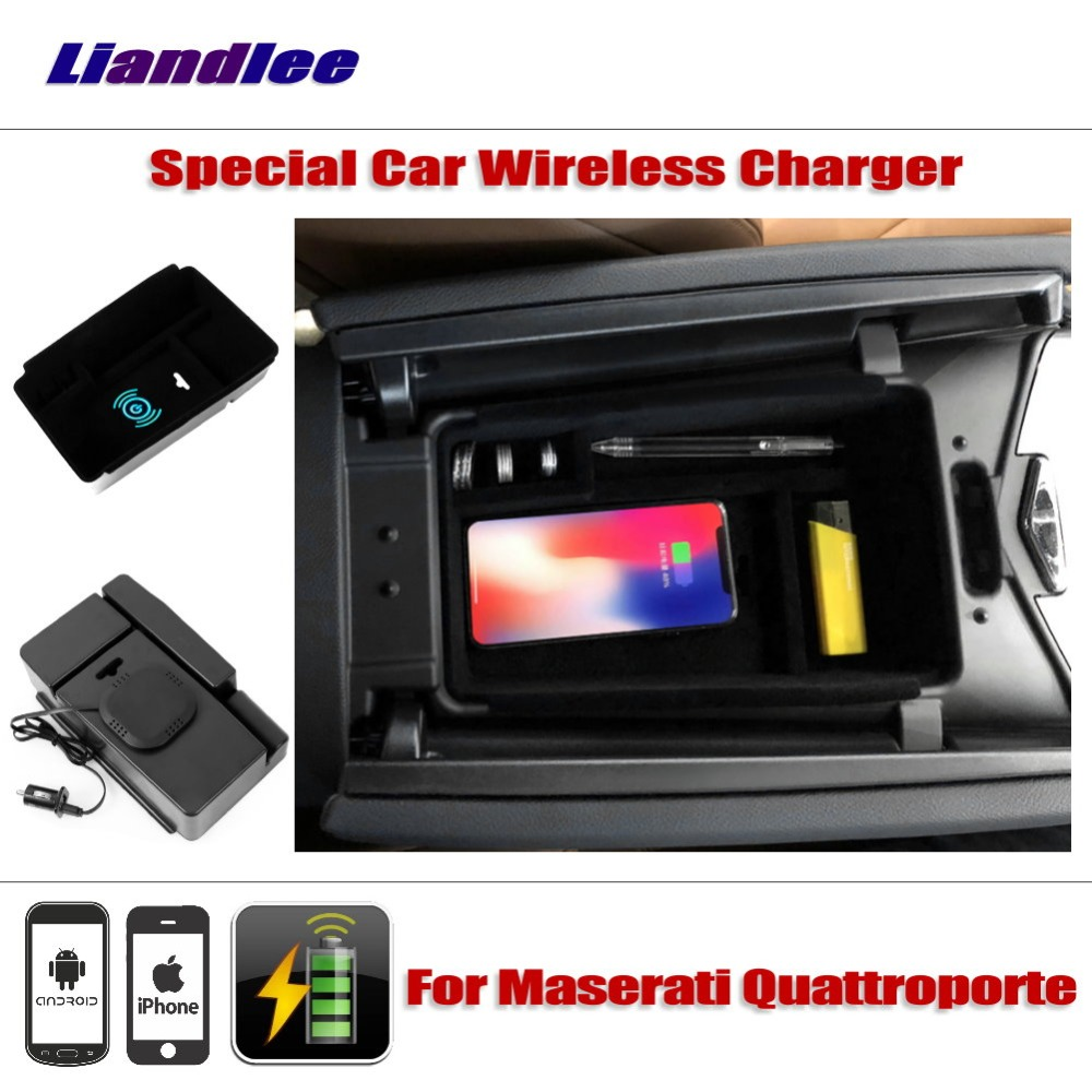 Liandlee For Maserati Quattroporte Special Car Wireless Charger Armrest Storage Iphone Android Phone Battery