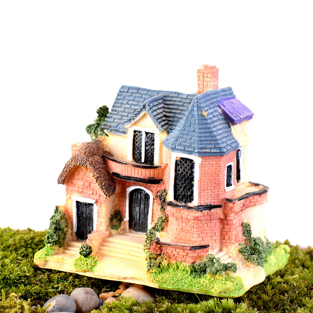 Mini Castle Fairy Garden Miniatures Castles Terrarium Figurines Decoration Miniature House Villa Woodland