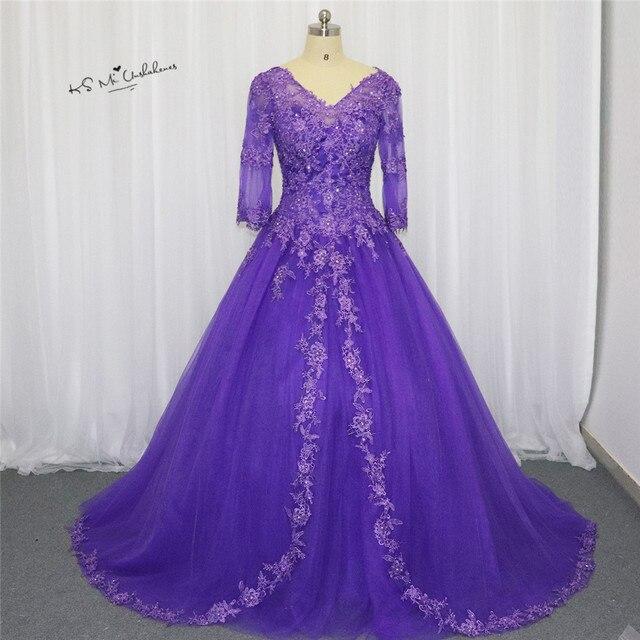 a94d950a2e3 Vestido de Debutante 2017 Cheap Quinceanera Dresses Lace Applique Purple  3 4 Sleeve Plus Size Quinceanera Gowns Sweet 16 Prom