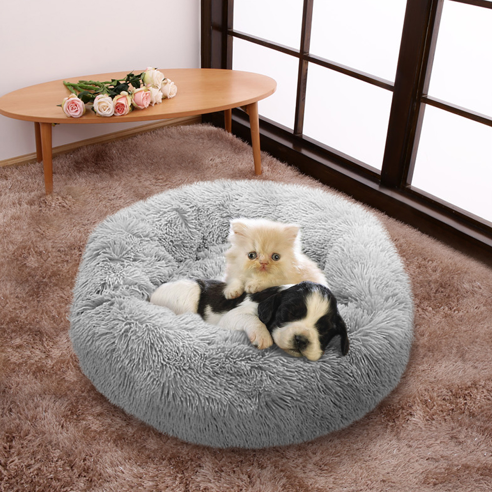 Fluffy Calming Dog Bed Long Plush Donut Pet Bed Hondenmand Round Orthopedic Lounger Sleeping Bag Kennel Cat Puppy Sofa Bed House 18