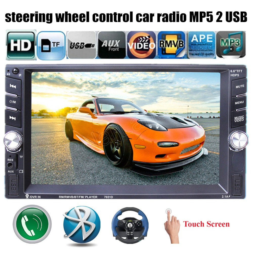 2 din 6.6 inch car radio stereo MP4 MP5 player bluetooth hands free touch screen FM 2 USB port support rear camera/DVR input 12v stereo 1 din car multimedia player fm radio mp3 mp4 player 3 6 inch touch screen bluetooth hands free calls sd usb charger