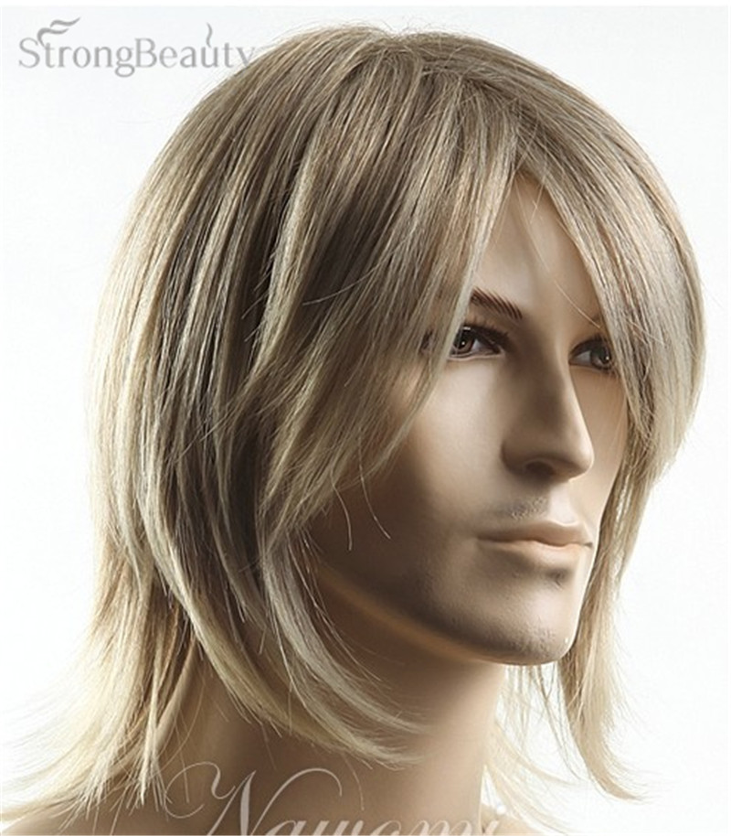 Synthetic Hair Blonde Straight Wig Men Cosplay