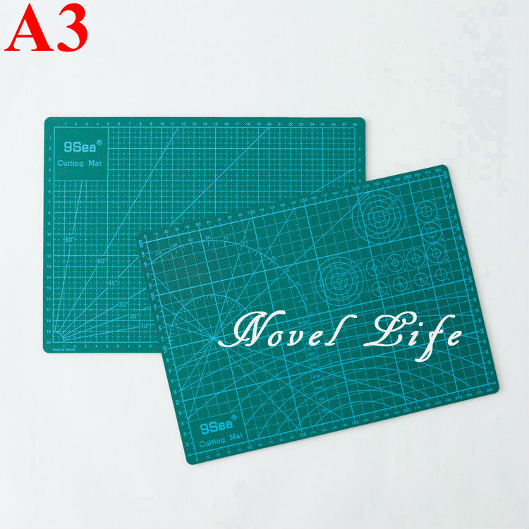 Nine Sea A3 Double Printed Green Cutting Mat Paper Cutting Project Work Pad Surface with Scale For Paper Crafts Model Design