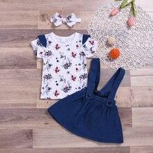 2019 Summer Kids Girl Short Sleeve Sets Casual Floral Print T-shirt Blouse+Strap Denim Skirts+Headband Casual Outfits Set 1