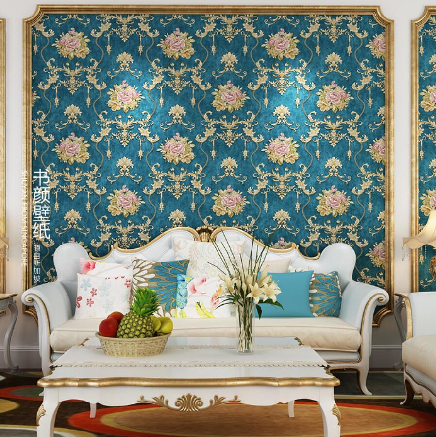 wallpaper fashion american 3d rustic tv background romantic Emboss non-woven wallpaper