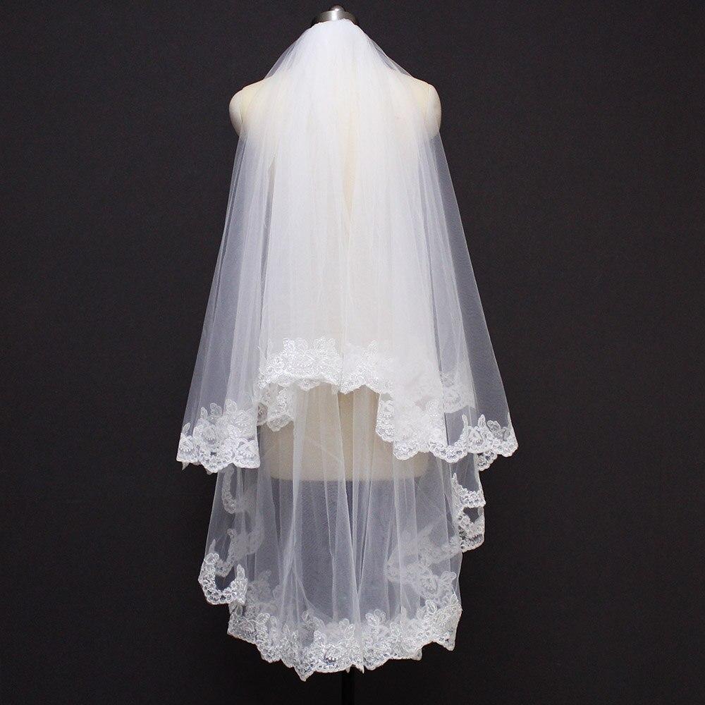 New Arrival Sequins Lace Edge Cover Face 2 Layer Wedding Veil 1.2 Meters 2 T Bridal Veil Wedding Accessories Velo De Novia