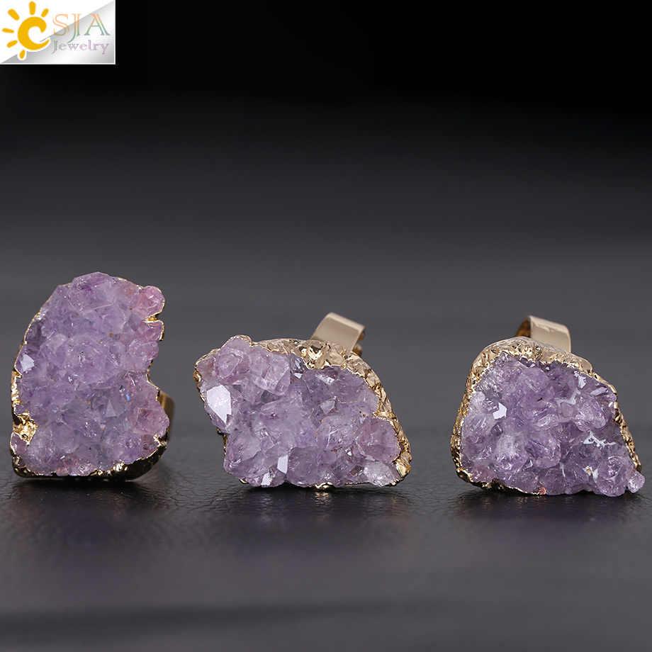 CSJA 紫石英リング不規則な天然石クリスタルドルーゼンジュエリーなし指サイズ限定ゴールドカラージュエリー F364