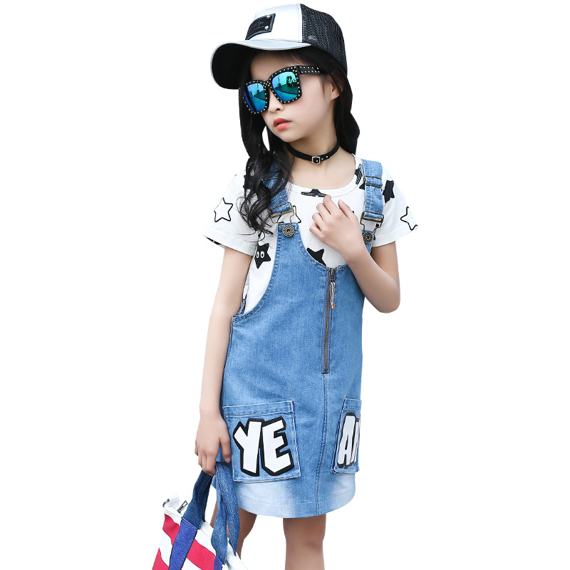 2017 Girls Clothing Sets Cotton Cartoon T-Shirts & Denim Overalls 2Pcs Summer Girls Outfits Brand Kids Dresses Girls Tees 4-12Y cotton cartoon t shirts