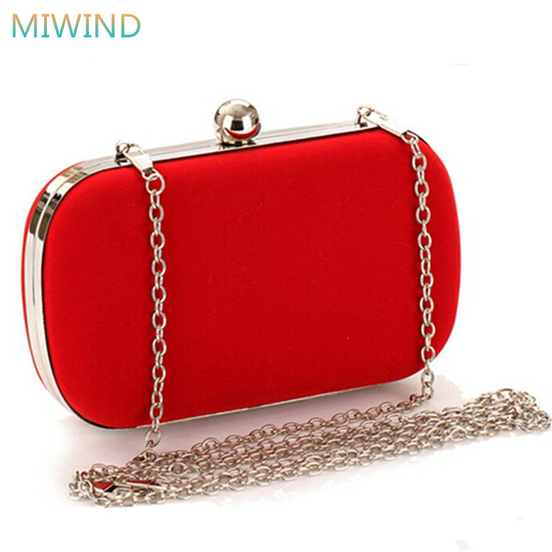 Miwind Female Corduroy Evening Bag Red Black Day Cluthes Hot Handbag With Alloy Shoulder Chain Hard Box Purse For Party Eb32 In Top Handle Bags From Luggage