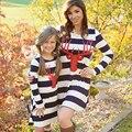 Nueva familia trajes a juego vestidos de madre e hija de ropa a juego vestido de rayas de manga larga trajes look dress clothing