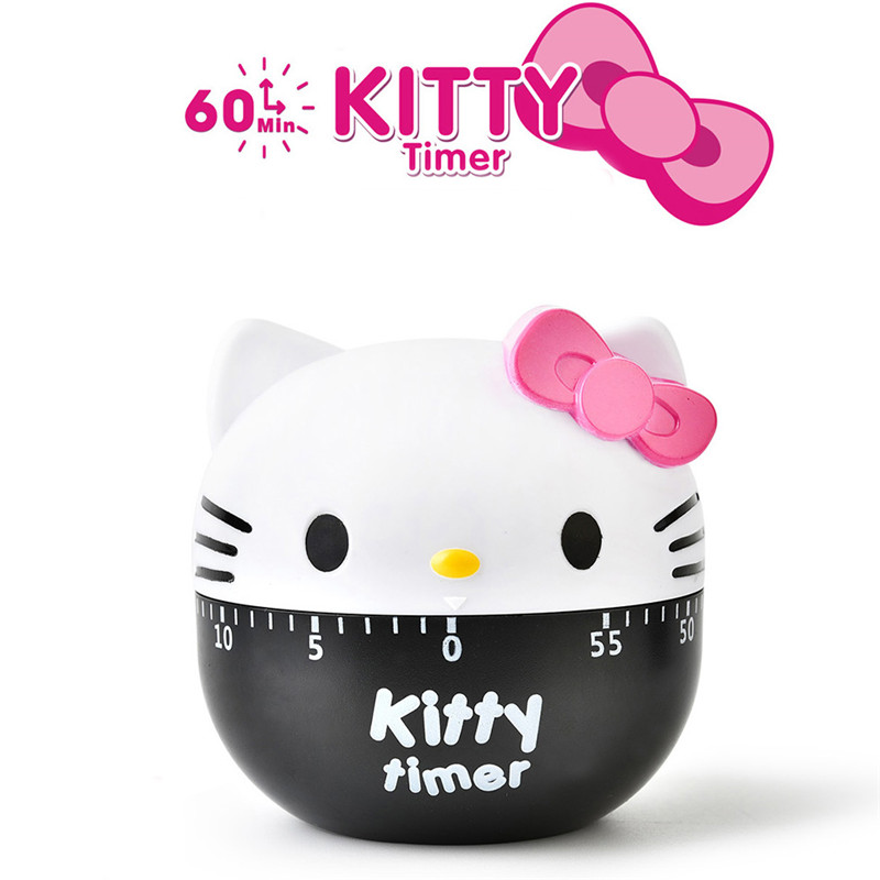 Lovely Kitty Cat Mechanical Kitchen Timer Set Time Reminder Dial Cooking Egg Timer Clock Scale Countdown Timer Kitchen Gadgets