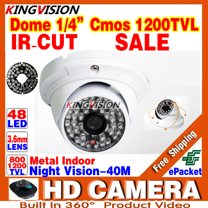 Metal 1/3cmos 1200TVL IR-CUT 48LED Color hd CCTV dome Camera ahdl Security Indoor Outdoor Surveillance Night Vision Home Video hd 1200tvl cmos ir camera dome infrared plastic indoor ir dome cctv camera night vision ir cut analog camera security video cam
