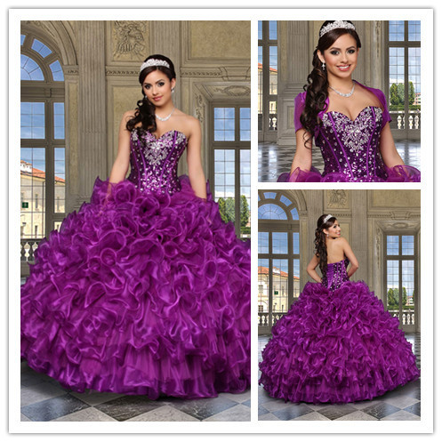 WOW BRIDAL 2015 New ArrivalPurple Ball Gowns Organza with Jacket Vestidos De Quinceanera Dress Beading Sweet 16 Debutante Gowns