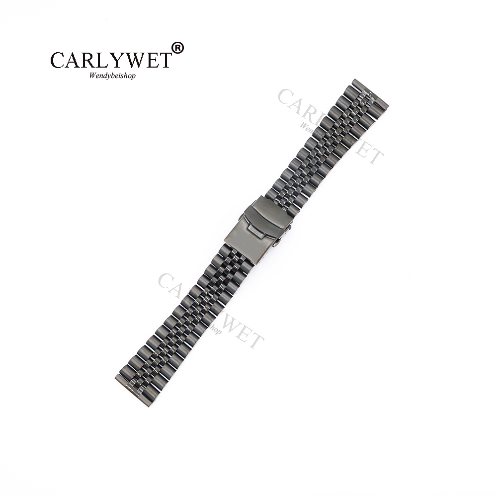 CARLYWET 22mm Wholesale All Black Straight End Solid Screw Links Replacement Watch Band Strap Jubilee Bracelet Double Push Clasp carlywet 22 24mm silver solid screw links replaceme 316l stainless steel wrist watch band bracelet strap with double push clasp