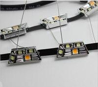 2Pcs White Yellow 8W Daytime Running Lamp Switchback Flexible LED Strip Light 12V Fog DRL Turn