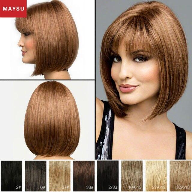Преобладающие MAYSU Короткие Парики Человеческих Волос Для Женщин Пробор Mono Top Бразильский Виргинский Волосы Светлые парик Монолитным Европейский Стиль