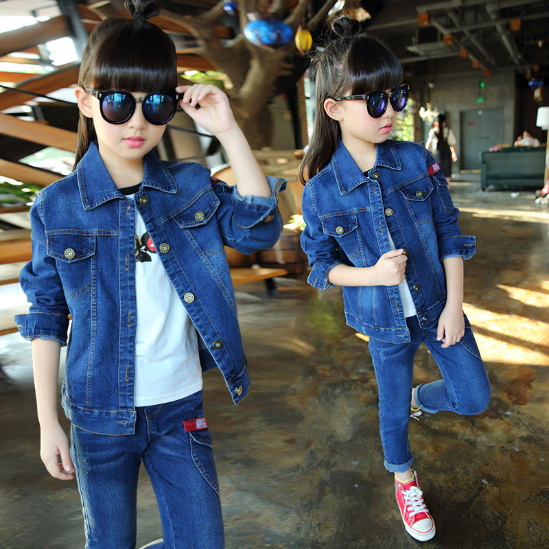 2017 New Girls Cowboy Suit Jeans for Girl  Classic Costume Denim Jacket Teenage Girls Clothes Winter Children Kids Baby Clothing