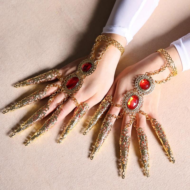 Children Dance Costume Bracelet Gold Avalokitesvara Nails Rginestone Fingertips Finger Decoration tb105 in Chain Link Bracelets from Jewelry Accessories