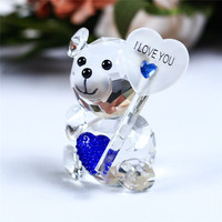 Crystal Animal Cute Teddy Bear Figurines Miniatures Glass Craft Glass Ornaments For Gifts Home Decoration Accessories