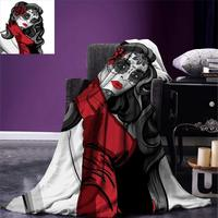 Skull Throw Blanket Sexy Sugar Skull Lady with Mexican Style Floral Mask Evil Gothic Dead Art Warm Microfiber Blanket