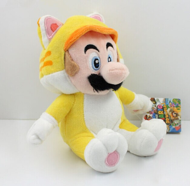 New Arrival Yellow Cat Mario Plush Toy 18cm Super Mario 3D World Mario Plush Toy Soft Doll With Tag
