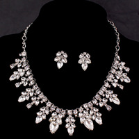 Exquisite Bridal Dubai Jewelry Sets White Gold 585 Plated Rhinestone Maxi Choker Necklaces Earrings Vintage Aros