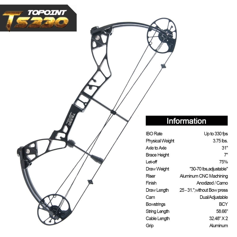 Topoint Archery Compound Bow Package Ts330 25 31 Draw Length 30