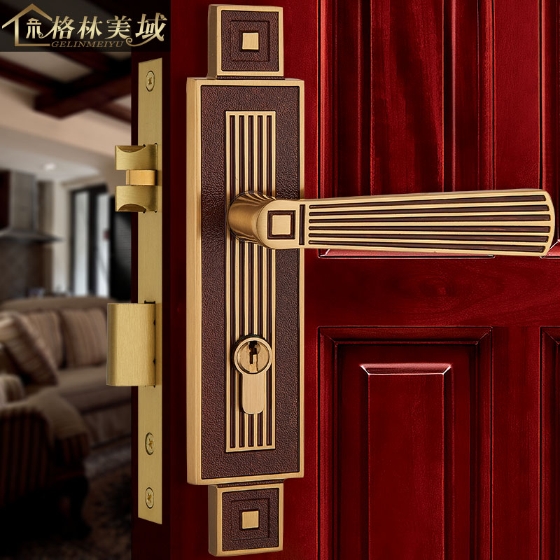 все цены на Chinese pure copper door lock bedroom door lock interior door lock solid wood door lock full copper door lock