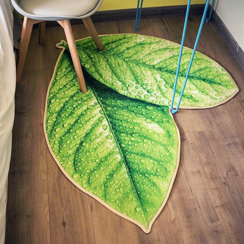 Creative vert feuilles tapis de sol salle de bain bébé ramper antidérapant salon chevet tapis extérieur - 3