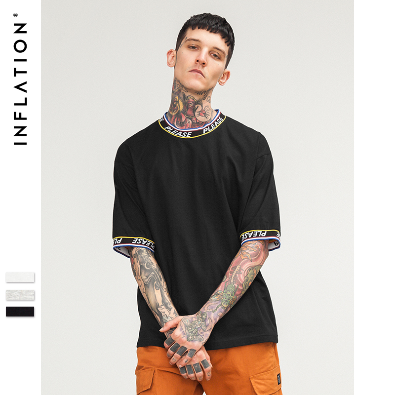 INFLATION Please lettering o-neck t shirt 100% cotton mens t-shirt fashion 2018 summer casual loose t-shirt dress tops&tee 8274S