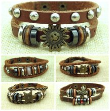 New Stylish Vintage Genuine Leather Wrap Bracelets Womens Mens Handmade Trendy Wristband Cuff Bracelet Jewelry Gifts