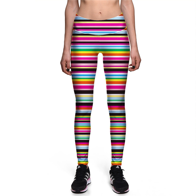 New Women Rainbow Striped Print Leggings Young Girls Fashion Colorful Slim Pants Ladies Autumn Fitness Pants Trousers Gift