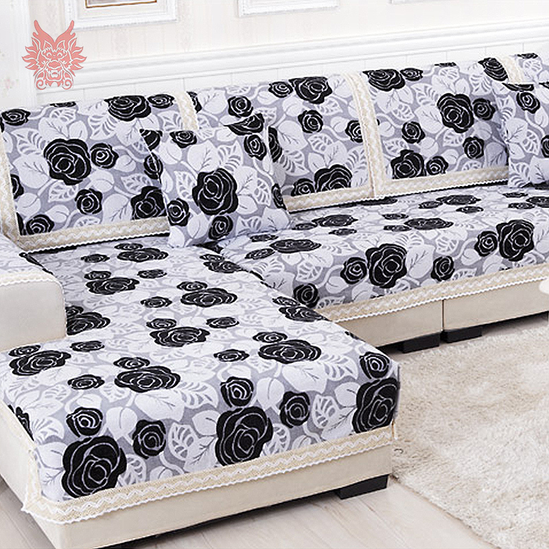 Black white floral sofa cover poly cotton chenille for Canape sofa cover