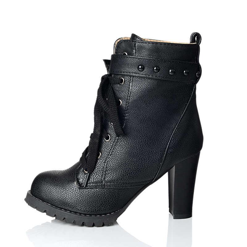 KarinLuna 2018 büyük boy 34-43 yarım çizmeler perçinler moda yüksek topuk kadın ayakkabı kadın sonbahar kış sıcak kürk çizmeler kadın ayakkabı