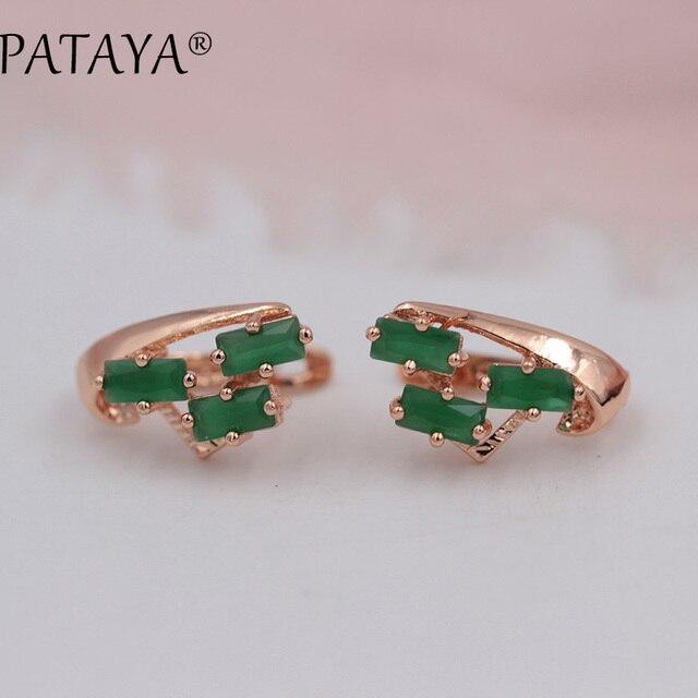 Pataya Exclusive Multicolor 585 Rose Gold Earring Green Square Natural Cubic Zirconia Dangle Earrings Women Fine Bohemia Jewelry
